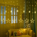 3m Droop 0.5-0.7m US Plug Curtain Icicle Star String Lights 110V New Year Christmas LED Lights Garden Xmas Wedding Party