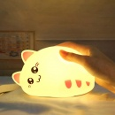 Cute Cartoon Cat-shaped Lamps Pat Control Rechargeable Silicone USB Night Lights Baby Kids Gifts