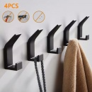 4Pcs Aluminum Wall-mounted Coat Hooks Bathroom Kitchen Bedroom Hanging Storage Hangers
