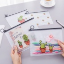 Transparent Pen Zipper Bag Frosted Cactus Outdoor Painting Pencil Sticky Note Holder