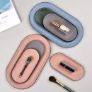 Stainless Steel Leather Oval Storage Tray Nordic Oval Metal Jewelry Tray Desktop Snack Storage Box