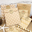 24Pcs Kraft Paper Biscuit Candy Bags Gift Packing Pouch Birthday Dessert Candy Bar Bag Snack Cookie Bag