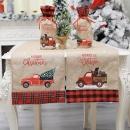 1Pc Christmas Linen Cartoon Car Table Runner Party Dinner Tablecloth Home Xmas Supplies