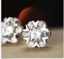 New Fashion White Gold GP Swarovski Crystal Snowflake Diamond Stud Earrings