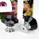 5Pcs 30mm Black Diamond Crystal Shape Glass Cupboard Wardrobe Drawer Pull Knobs Handle