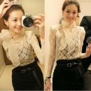 Stylish Lady Women's New Fashion Slim Sheer Lace Big Bow Stand Collar Bottoming Shirt