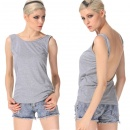 Sexy Women Sleeveless round Collar Deep V Back Backless Casual Tank Tops