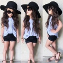 Fashion Children Kids Girl's 2pcs Casual Clothes Set Lapel Short Sleeve Shirt And Elastic Waist Pockets Shorts