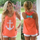 Fashion Women Casual Loose O-Neck Print Tank Vest Tops Back Bow