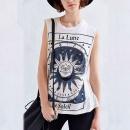 Summer Women O Neck Sleeveless Printed Loose Blouse Cool Shirt