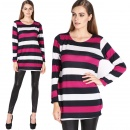 Women's Fashion Stylish Stripe Splicing Color Loose Long Sleeve Tops Blouse Long T-shirt Dress