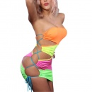 Women Sexy Strapless Slashed Cut Out Patchwork Mini Club Wear Lingerie Dress