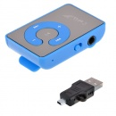 Mini Clip Metal USB MP3 Music Media Player with Micro TF/SD Card Slot Support 128M - 8GB +earphone Blue