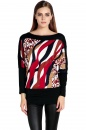 Women's Fashion Stylish Stripe Print Splicing Color Long Sleeve Tops Blouse Plus Size
