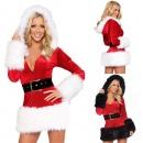 Women's Sexy Slim Fitting Long Sleeve Hooded Christmas Xmas Party Club Mini Dress