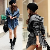 Women Fashion Denim Trench Coat Hoodie Outerwear Hooded Jeans Coat Jacket