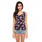 Women Fashion Sexy Crew Round Neck Sleeveless Top Shirt Butterfly Printed Vest Tank