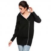 Women's winter warm jacket Women's Long Sleeve Zip Pocket Hooded Jacket Casual Slim Outwear Jacket