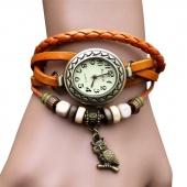 Women Leather Wrist Watch Bracelet Retro Vintage Owl Pendant Weave Wrap Quartz 7 Colors