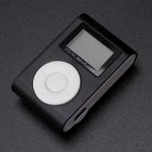 Mini USB Clip MP3 Player LCD Screen Support 16GB Micro SD TF Card Magic ( Color:Black )