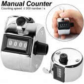 4 Digit Number Mechanical Clamp Counter Handheld Digit Number Lap Clicker Chrome Hand Tally Counter