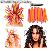 20Pcs DIY Magic Hair Curlers Curl Formers Spiral Ringlets Leverage Rollers