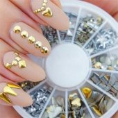 3D Gold Silver Nail Charms 120Pcs Fashion Metal Nail Art Decoration Rhinestone Tips Metallic Studs Gold Silver