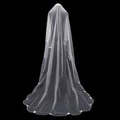 Vintage 2.5M Single Layer Wedding Bridal Veil Bridal Beads Lace Edge White Ivory