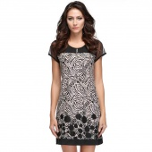Women Fashion Plus Size Splice Suit Printed Pattern Round Neck Short Sleeve Loose Dress