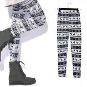 Women Fashion Multi-Style Nordic Snow Flake Printed Reindeer Knitted Leggings Tights Pants