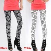 Women Elastic Printing Leggings Pencil Pants Stretch Skinny Leggings Tights Black/White