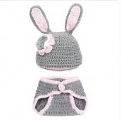 Cute Newborn Infant Baby Rabbit Pattern Wool Suit Headwear Cap Hat with Pants Gray