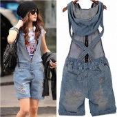 Women Vintage Washed Jeans Casual Hole Short Romper Overall Pants Denim Jumpsuit