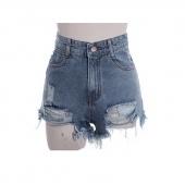 Women Rock Fashion Street Vintage Grunge Hole Water Wash Retro High Waist Sexy Shorts Jeans Pants