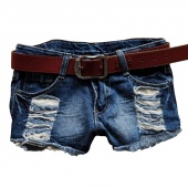 Women Fashion Retro Low Waist Tassel Hole Lace Jeans Denim Shorts Pants