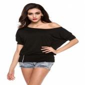 Sexy Women's Girls Trendy OFF-Shoulder Cotton Blends Top T-Shirt Buttons Blouse