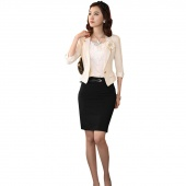 Women Fashion High Waist Career Short Solid Skirts Slim Hip Knee-Length Pencil Skirt