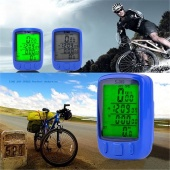 Outdoor Waterproof Bicycle Wired LCD Digital Speedometer Odometer Green LED Backlight