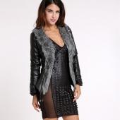 Women Long Sleeve Faux Fur Leather Coat Jacket Female Fashion Warm Outerwear
