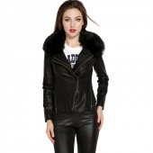 Women Leather Coat Jacket Outerwear Tops with Detachable Fur Collar