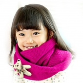 Winter Baby Kids Boy Girl Warm with Bear Knitted Scarf