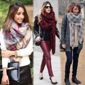 Details About Lady Women Winter Infinity Blanket Oversized Shawl Plaid Check Tartan Scarf Wrap