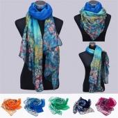 Women Fashion Multicolor Chiffon Soft Warm Wrap Floral Shawl Long Scarf