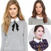 Stylish New Women Half Blouse Shirt Tops Blouse Tie Detachable Turn-down Collar