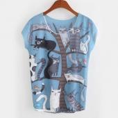 Fashion Women O-Neck Short Sleeve Animal Print Casual Graphic Tees Loose T-Shirt
