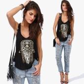 Fitness Tank Tops Women Print Sleeveless O-Neck Casual Vest Summer Sport Tank Tops Loose Ladies T-Shirt