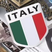 Alloy Metal Auto Racing Sports Emblem Badge Decal Sticker for Italy Italian Flag