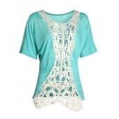 Women Lace Short Sleeve Long Tops Blouse Shirt Ladies Beach BOHO Mini Dress 6-16