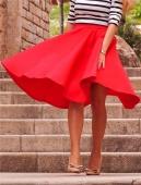 Women Stretch High Waist Plain OL Flared Pleated Long Skirt A Line Midi Dress