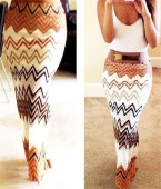 Chevron Pattern High Waist Ankle Length Skirt